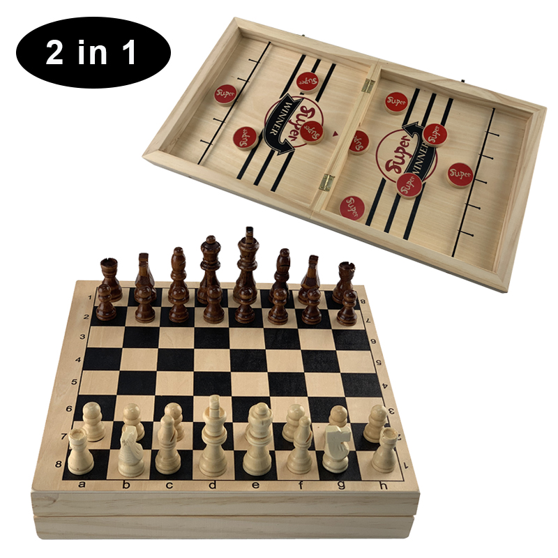 Table Hockey Game&chess 2 In 1 Wooden Foldable Board Game for Parent-child Interactive Toy Fast Sling Puck Game Present