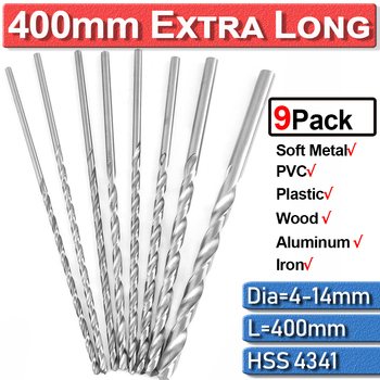 цена на Metal Drilling Twist Drill Bits HSS Extra Long Drill Bit 6/7/8/9/10/11/12/13/14mm 9Pc Extra Long High Speed Cobalt Steel D30