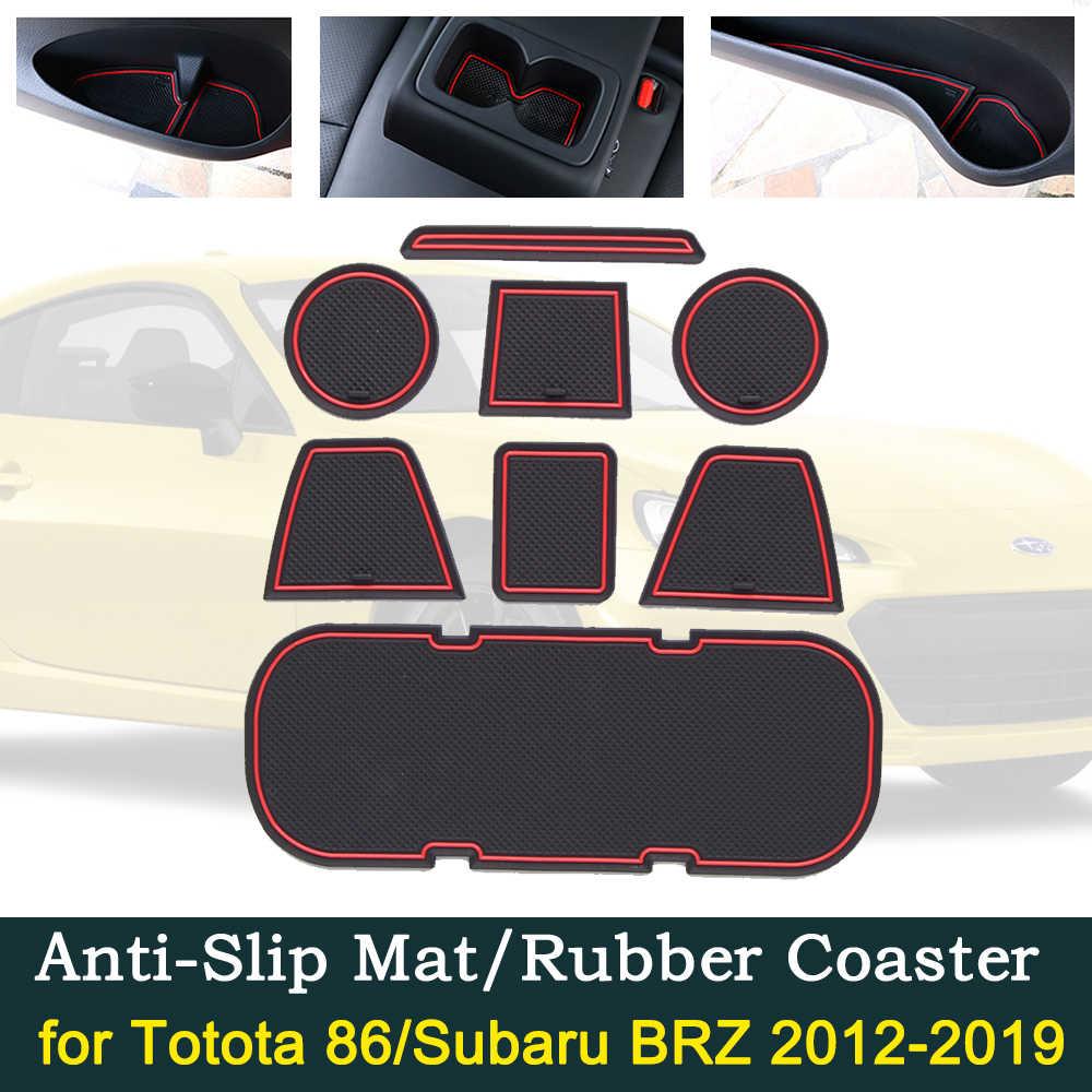 المضادة للانزلاق باب السيارة قاعدة أكواب مطاطية وسادة بوابة حمراء فتحة وسادة لتويوتا 86 سوبارو BRZ GT86 FT86 سليل FR-S 2012 ~ 2019 حصيرة الملحقات