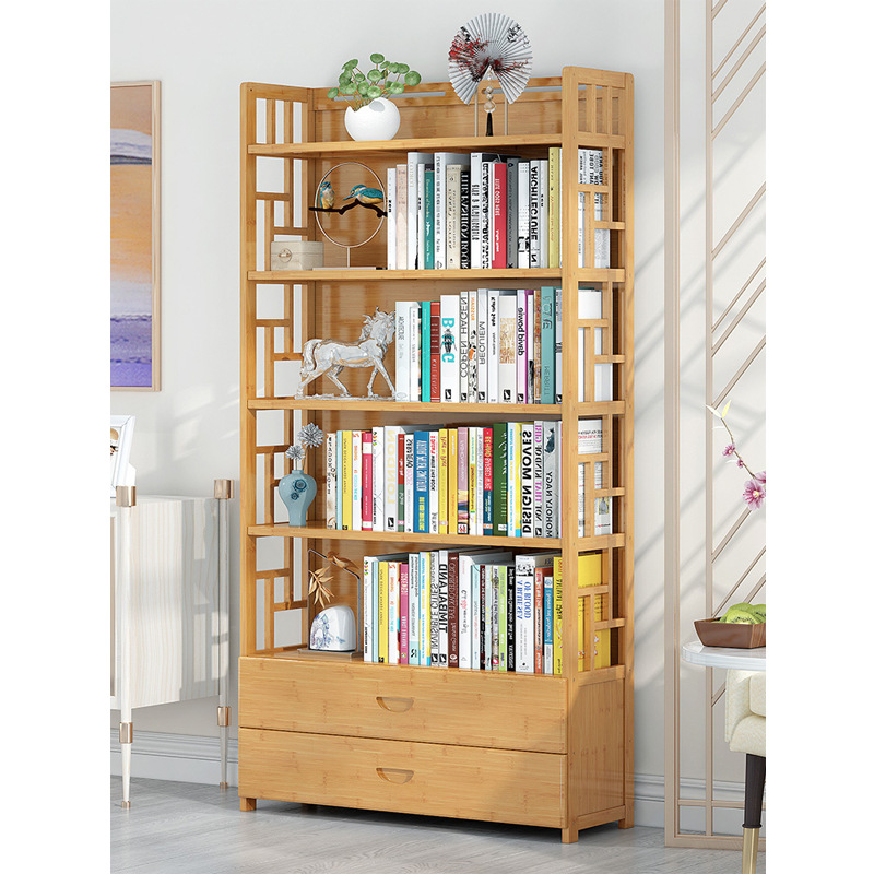 Of Bamboo Pure Bookshelf Storage Shelf Floor Simplicity Student Household Table Bamboo Bookcase Modern Minimalist Floor Province