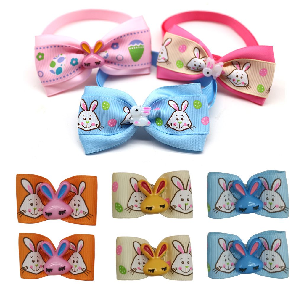 40pcs Easter Bowties bows combo Cute Rabbit font b Pet b font Dog Neckties Ribbon Bow