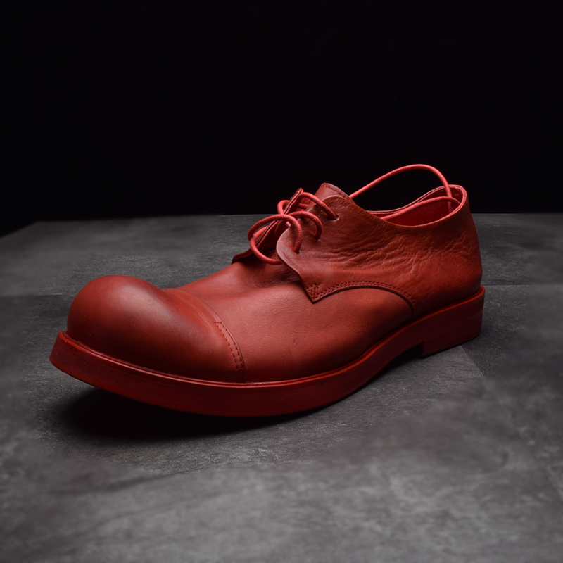 Autumn Winter Leather Low Help Men's Big Shoes Scalp Shoes Round Head Thick Bottom Soft Leather Retro Shoes Hairdresser