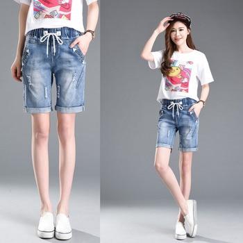 Large Size Women Summer Students Denim Shorts 2019 Fat MM Female Cotton Jeans Ladies Shorts Five Points Wide Leg Harem Trousers 5