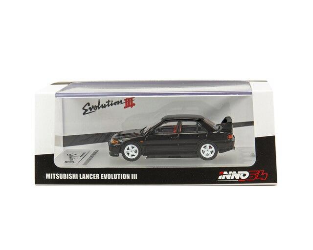 Inno64 1 64 mitsubishi lancer gsr evo iii 1995 블랙 다이 캐스트 모델 자동차