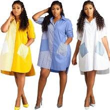 Полосатые платья с длинными рукавами для женщин свободные отворотом