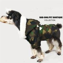 Verdicken Winter Camouflage Mantel Haustier Hund Winter Kleidung für Kleine Hunde Haustiere Kleidung Französisch Bulldog Yorkshire Mops Mode Jacke