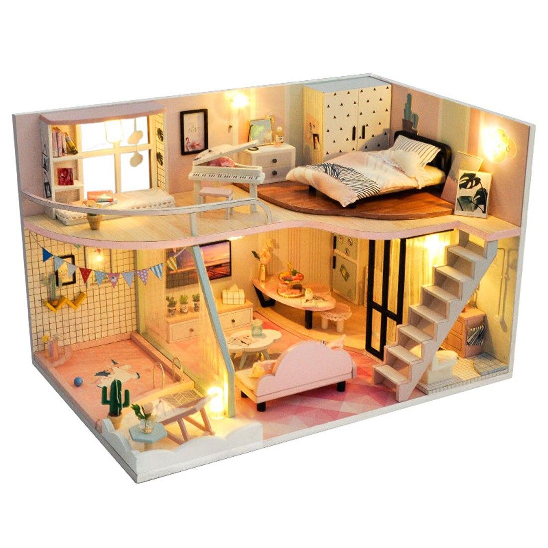 Bricolage créatif à la main thème en bois cabine assemblage bâtiment modèle jouet ensemble avec musique lumière et couverture de poussière-temps rose clair