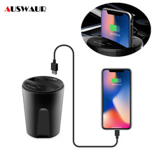 X8 รถ QI ไร้สาย Charger CUP สำหรับ iPhone 11 Pro Max Samsung Huawei USB Wireless Car Charger ถ้วย 2.4A