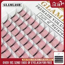 GLAMLASH 12 Lines Premade Long Stem Volume Eyelash Extensions wide fans 2d3d4d5d6d Lashes Faux Mink