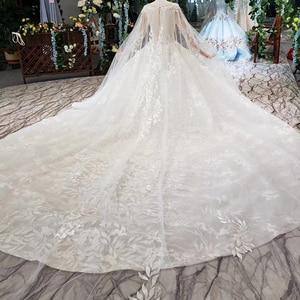 Image 3 - BGW HT4237 Ball Gown Wedding Dresses With Cape O Neck Zipper Back Applique Long Sleeves Lace Wedding Gowns 2020 Vestido De Noiva