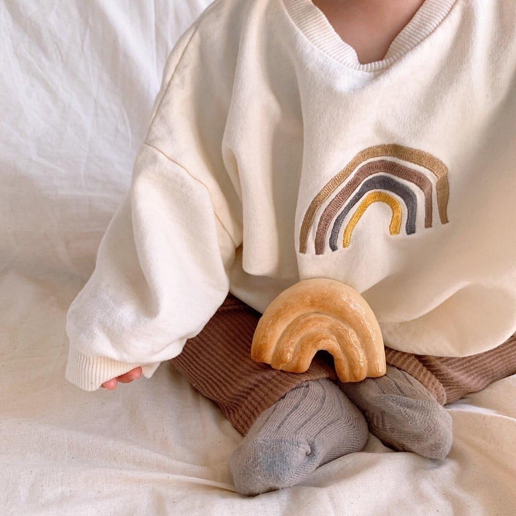Autumn Baby Girls Embroidery Rainbow Sweatshirts Long Sleeve Tops Kids Toddler Boys Pullover Sweatshirt Rainbow T-shirt Clothes 6