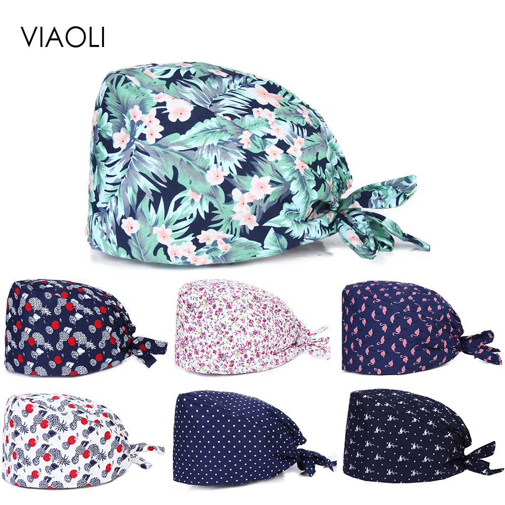 Viaoli New Unisex Medical Cap Women And Men Surgery Cap Hospital Working Hat 100% Cotton Surgical Work Hats A Elastic Strap Ties