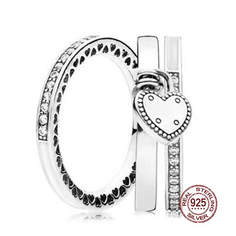 2018 nouveau 100% bague en argent Sterling 925 amour en coeur empilé anneau de mariage pour les femmes de mode bricolage cadeau bijoux