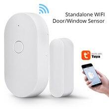 Wi fi porta janela sensor tuya casa inteligente independente sem fio alarme de segurança sem hub necessária notificação lembrete aberto ou fechado