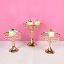 Get more info on the Tobs  Fondant Gold Crystal cake stand set Electroplating gold mirror face candy bar table decorating cupcake sweet table