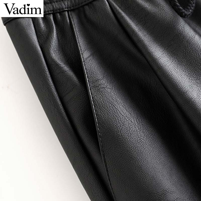 Vadim women chic PU leather pants solid elastic waist drawstring tie pockets female basic elegant trousers KB131 3