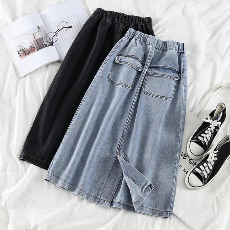 Женская длинная джинсовая юбка, элегантная винтажная плиссированная юбка макси с поясом на резинке, лето 2020|Юбки|   | АлиЭкспресс