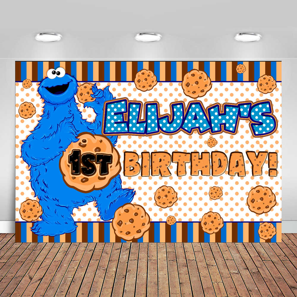Cookie Monster Party Baby Shower Photo Backdrop High Quality