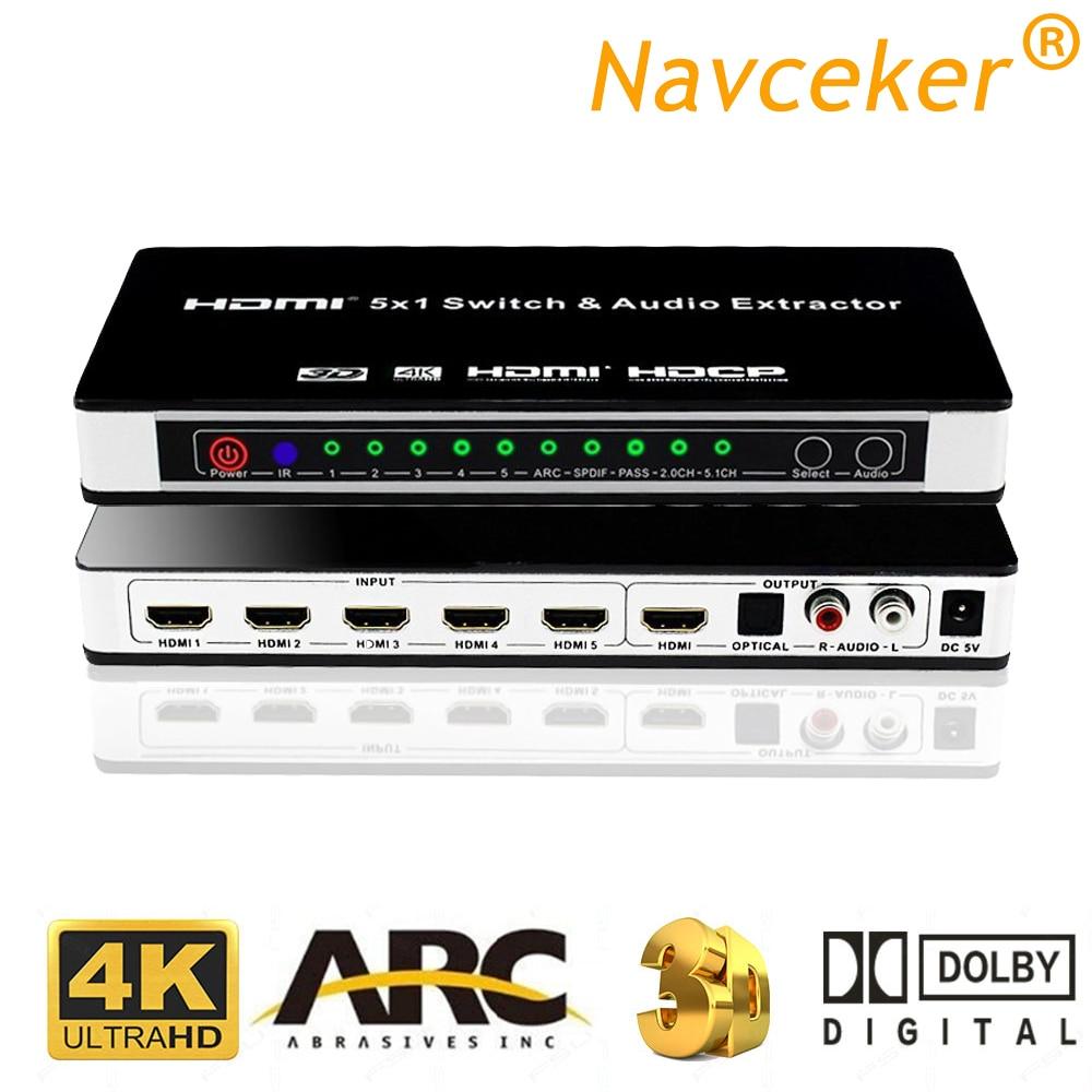 ZY-HS16 5x1 HDMI commutateur Audio extracteur ARC IR commutateur à distance HDMI 1.4 HDMI commutateur 5 ports HDMI commutateur 4K pour PS3 PS4 Apple TV
