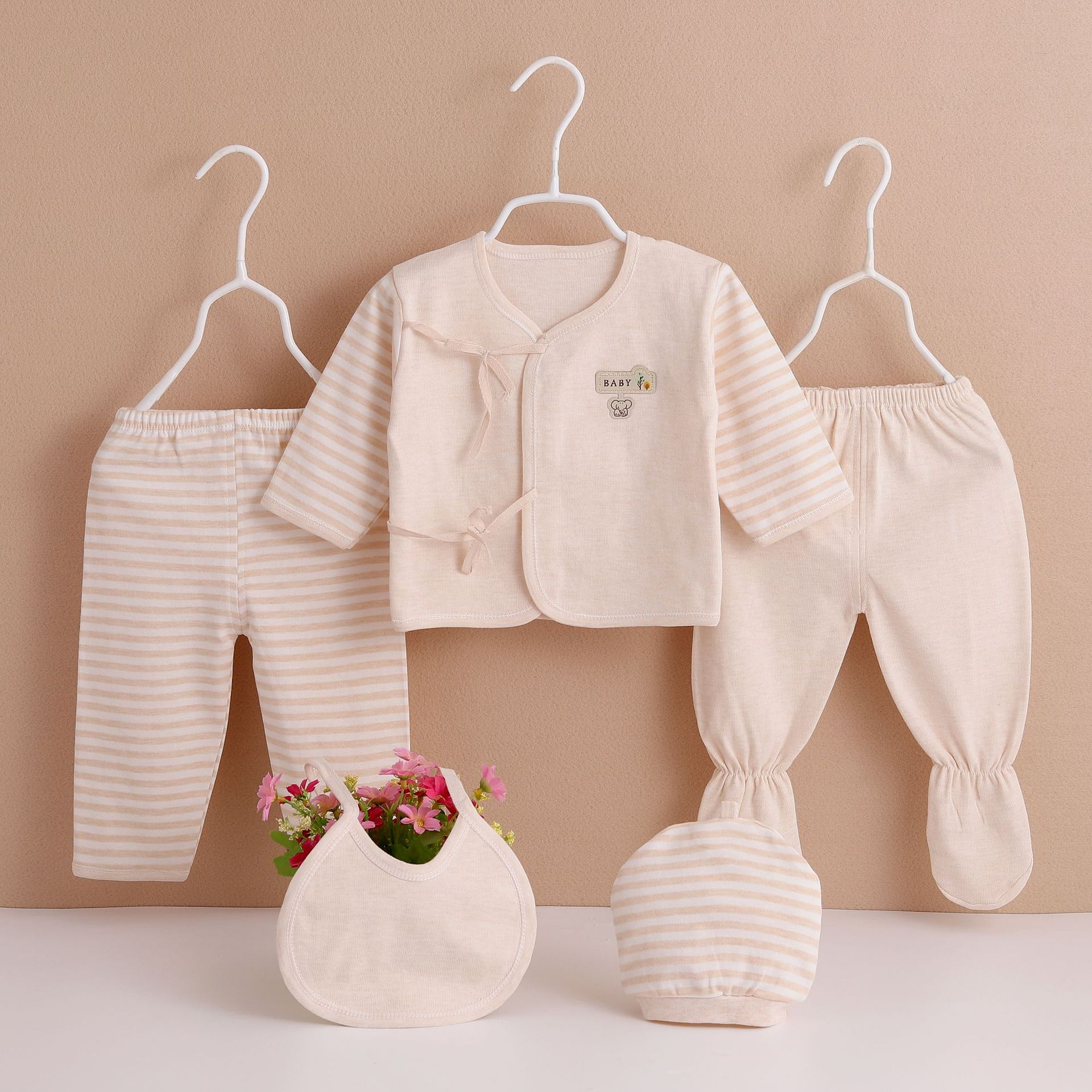 Four Seasons New Style Cotton Clothes Newborns Infants Colored Cotton 5-Piece Set Baby Five-Piece Plastic Bag Packaging