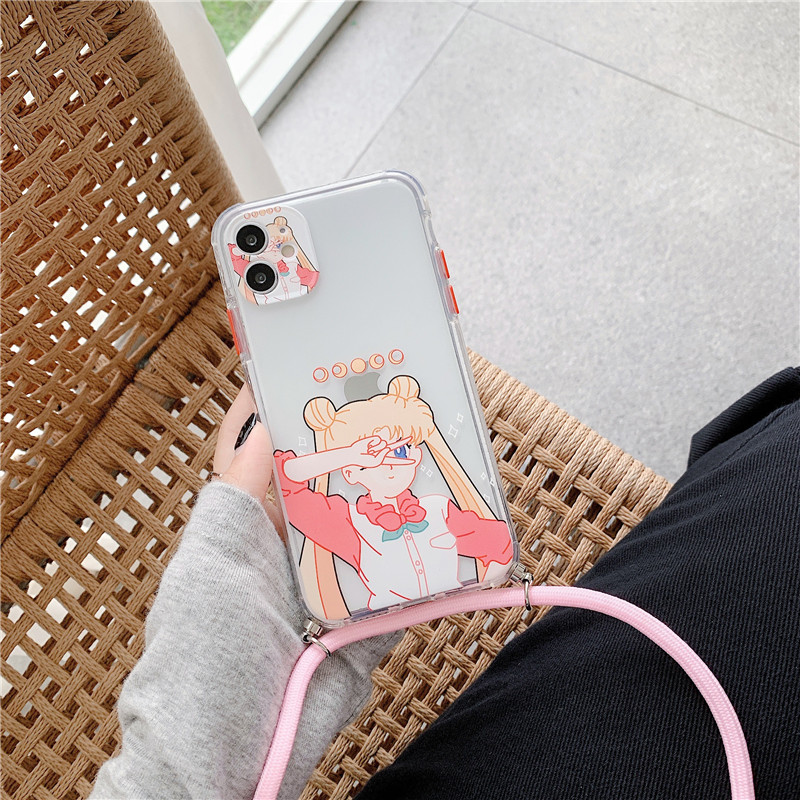 Cute Sailor Moon Cases For iphone 11 Pro Max 7 8 plus X XR XS Max SE 2020 Phone case Transparent Soft Back Cover With Lanyard