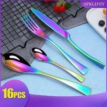 Spklifey Kaya Luxury Cutlery Set Stainless Steel Dinner Knife Fork Tablespoon Dinnerware 16 pecs Western Tableware Tools