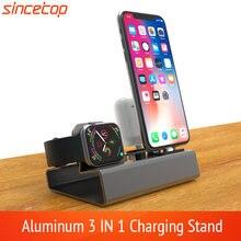 Alumínio 3in 1 doca de carregamento para o iphone 11 pro xr xs max 8 7 6 apple relógio airpods carregador suporte para iwatch estação doca