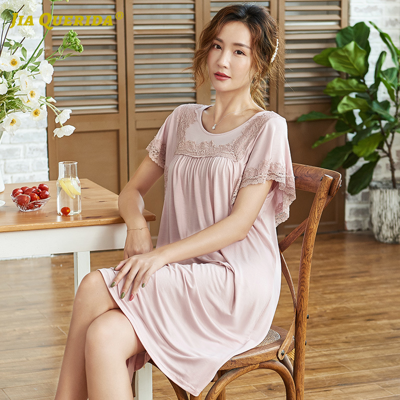 Soft Summer New Crew Neck Nightwear Night Gown Fashion Style Casual Style Homedress Long Shirt Woman Clothes Modal Short Sleeve