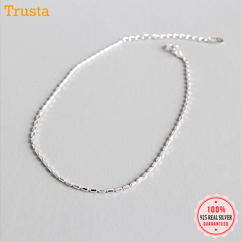 Trustdavis 100% 925 Solid Sterling Silver Fashion Women's Jewelry Chain 19.5cm Anklets For Wife Best Friend Free Shipping DA121