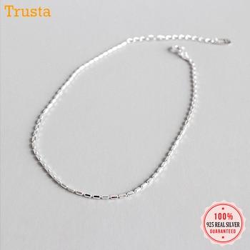 Trustdavis 100% 925 Solid Sterling Silver Fashion Women's Jewelry Chain 19.5cm Anklets For Wife Best Friend Free Shipping DA121