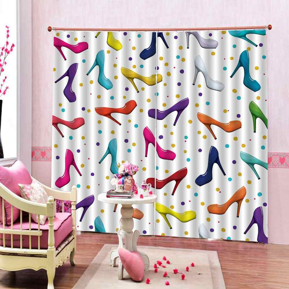 High heels curtains for girls room  Bedroom 3D Window Curtain Luxury living room decorate Cortina