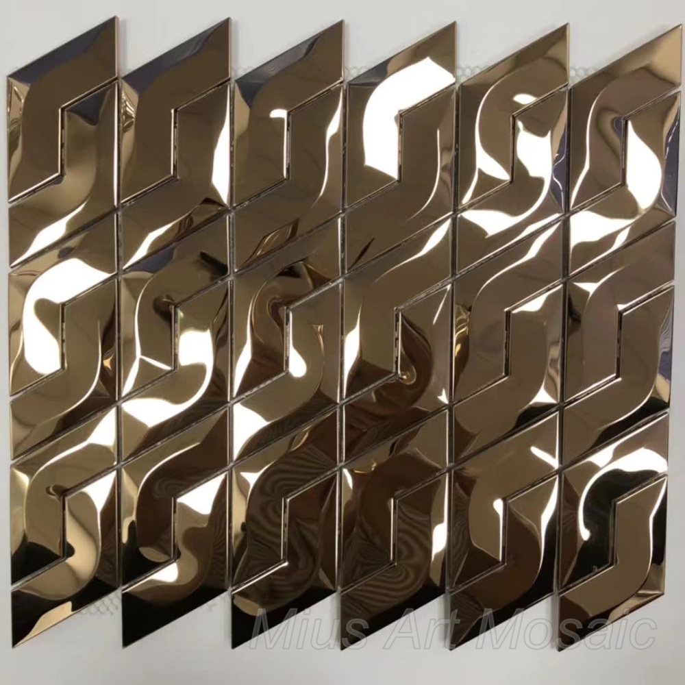 3D Rose Gold Stainless Steel Metal  Mosaic Tile DIY Wall Sticker For Kitchen Backsplash
