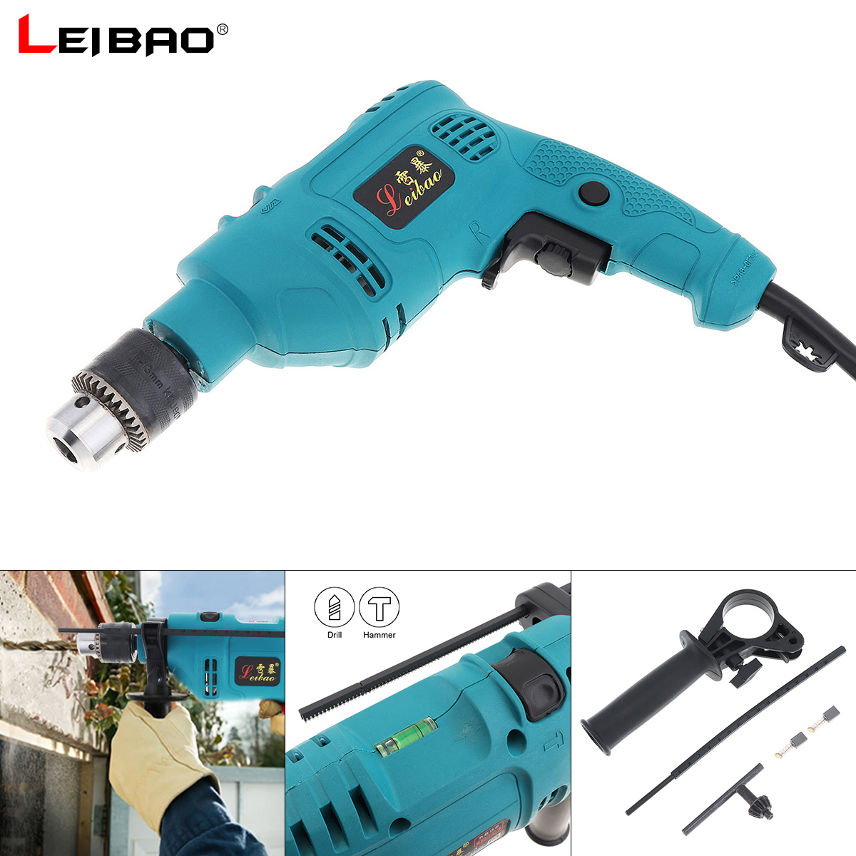 220V 550W Handheld Impact Electric Pistol Drill with Dualuse Variable Speed Switch and 13mm Drill Chuck for Handling Screws|Electric Drills| |  - title=