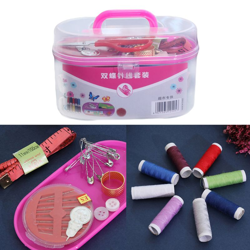 Portable DIY Sewing Thread Travel Kit Knitting Needles Scissors Tools With Case NEW