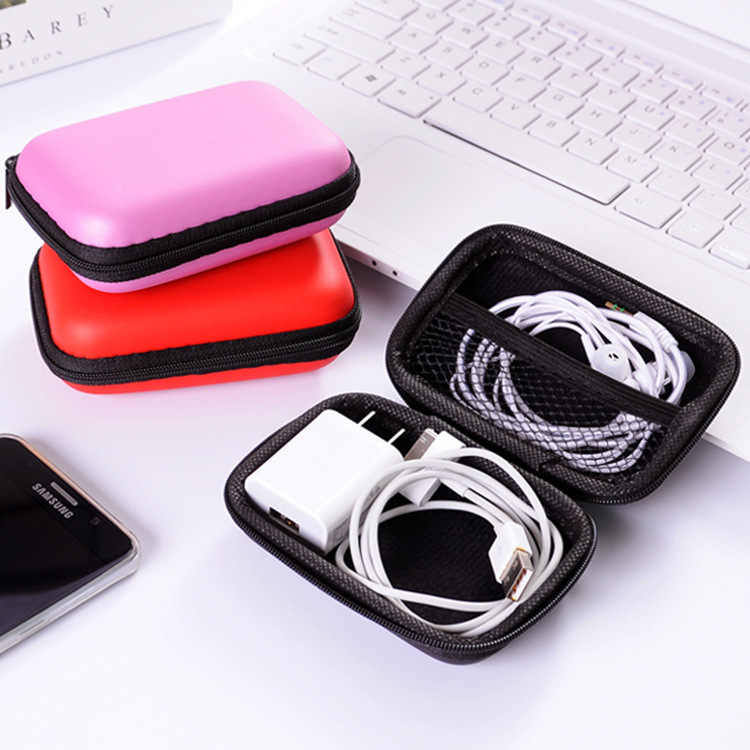 Travel Zipper Case Leather Earphone Storage Box Portable USB Cable Organizer Carrying Hard Bag For Coin Memory Card Boxes