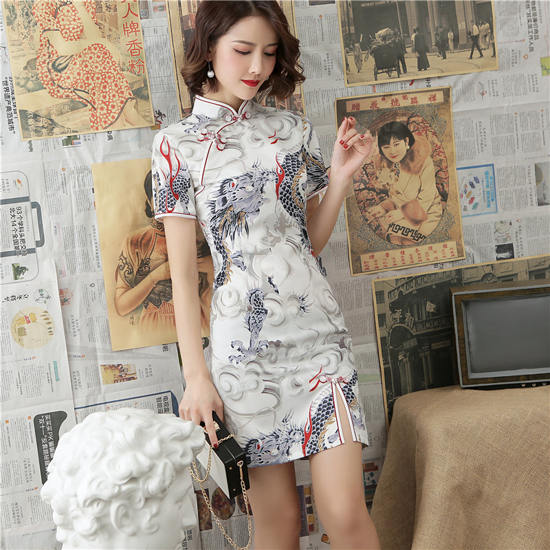 2019 Summer New Style Slit-Front Dragon Design Short Cheongsam Crane Spandex Dress Chinese-style Improved Cheongsam
