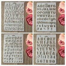 4 Stks/partij 27 Cm Alfabet Engels Letters Diy Craft Gelaagdheid Stencils Schilderij Scrapbooking Stempelen Embossing Album Papier Template