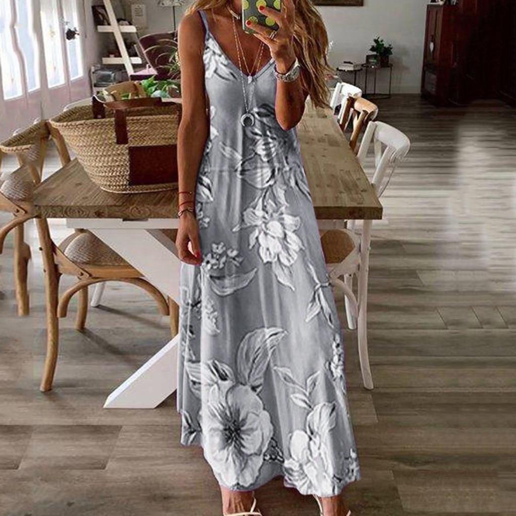 Female clothing Women Sexy Off Shoulder Sleeveless Casual Floral Printing Dress Long Dress Elegant Women's Bodycon Vestidos#9