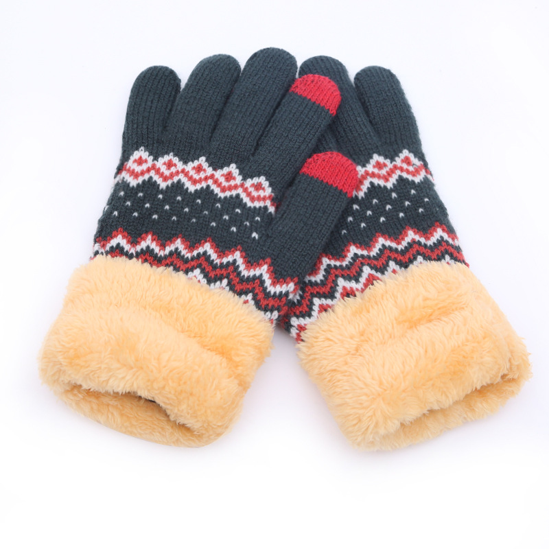 2019 Cashmere Wool Knitted Gloves Velvet Keep Warm Touch Screen Gloves Full Finger Windproof Winter Glove Outdoor Cycling Glove