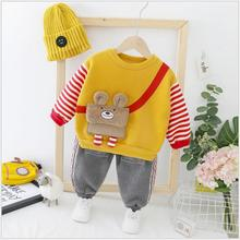 купить 2019 Autumn Winter Baby Infant Clothes Suits Toddler Boys Girls Clothing Sets  Plush Bag Coat  Pants Kids Children Costume Suit дешево