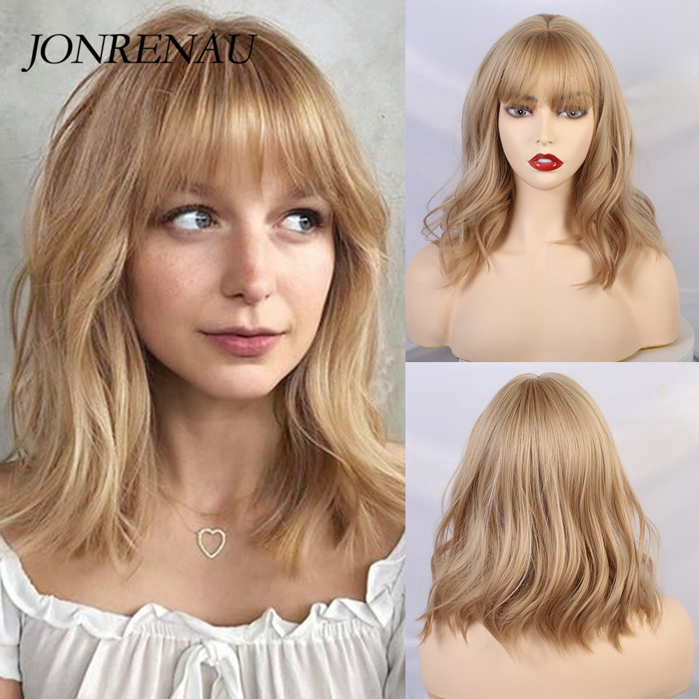 JONRENAU Long Blonde Mixed Color Hair Synthetic Wigs With Bangs Shoulder Length  For Black/White Women Cosplay Party Wig