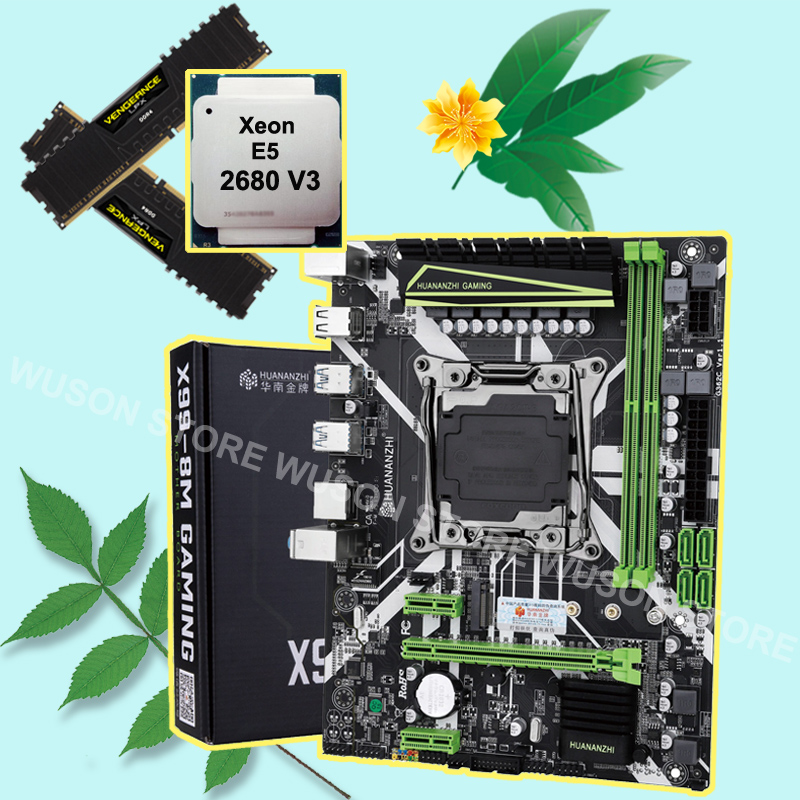 HUANANZHI X99 LGA2011-3 motherboard bundle discount motherboard with M.2 NVMe slot CPU Xeon E5 2680 V3 RAM 32G(2*16G) DDR4 2133