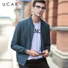 UCAK Brand Strieped Fashion Style Jackets Men Pockets Zipper Casual Coats Streetwear Spring Chaquetas Hombre Jacket Men U8058