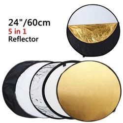 """24 """"60 cm reflektor 5 w 1 składany okrągły fotografia biały srebrny odbłyśnik do studia Multi Photo dyfuzor płytowy rekwizyty w Reflektor od Elektronika użytkowa na"""