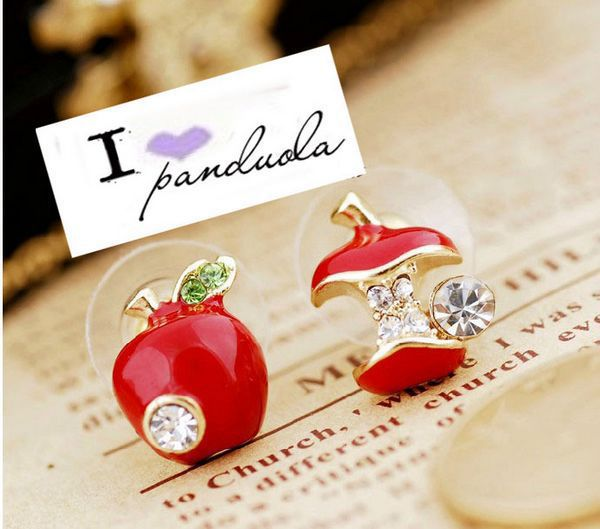 Hot Sale Fashion Lovely Red Drops Of Glaze Asymmetric Apple Crystal Stud Earrings For Women Cheap Jewelry