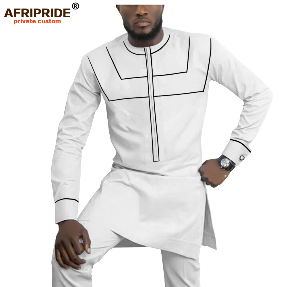 2019 African Clothing For Men Dashiki Mens Outfits Shirts+ Ankara Pants Set Tracksuit Men Tribal Attire AFRIPRIDE A1916055