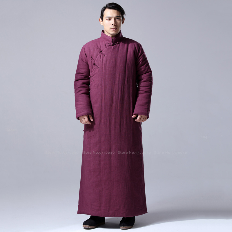 Chinese Traditional Winter Long Sleeve Cotton Robes Jackets Men Hanfu Qipao Loose Blouse Dress Tang Suit Thick Coats Cheongsam
