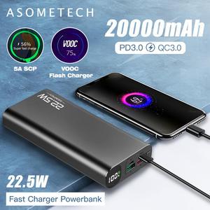 Power-Bank External-Battery Fast-Charger Display-Pd Portable 20000mah Super 5A Digital