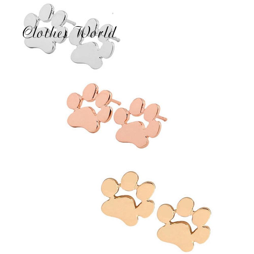 Niedźwiedź pies odcisk łapy kota stadniny kolczyki kobiety śliczne zwierzęce stopy niedźwiedź w kształcie łapy aluminiowe kolczyki do uszu zabawny design biżuteria złoto