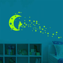 Leucht Cartoon Wand Aufkleber Glow in The Dark Aufkleber fogorescent Fee Mond Sterne Wand Aufkleber Kinderzimmer Dekoration(China)